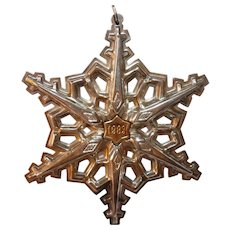 Gorham Sterling Silver with Gold Filled 1983 Year mark Snowflake Ornament Pendent