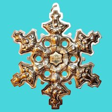 Gorham Sterling Silver with Gold Filled 1982 Year mark Snowflake Ornament Pendent