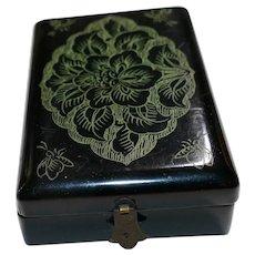 Vintage Paper Mâché black lacquer Trinket Box  Japanese Meiji Occupied Japan