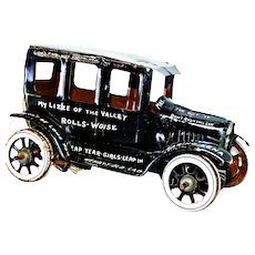 """Lithographed Tin toy """"Old Jalopy"""" Toy Automobile 1950s"""