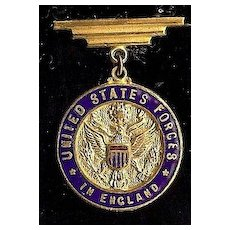 Original two piece Pendant United States Forces in England Military Collectible nice!