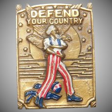 WWII Patriotic Defend Your Country Army Recruit Poster Uncle Sam Rare small size lapel pin CORO Company 1940's