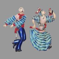 World War II Era Patriotic Enameled Dancing Flamenco Couple - Allies Series - Coro Company 1940