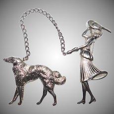 Elegant Lady Walking her Borzoi Wolfhound Dog Chatelaine rhodium Plated Pin set Adolph Katz for Coro Company 1948