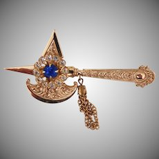 Ornate Regal Medieval Broad Axe Brooch with chain dangle -  Coro Company 1950's