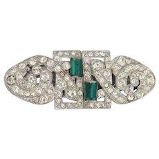 Art Deco Duette sparkly rhinestones & emerald green baguettes on rhodium brooch/dress clips - Coro Company 1930's