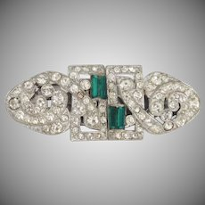 Art Deco Duette sparkly rhinestones & emerald green baguettes on rhodium brooch/dress clips - Coro Company 1930's