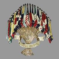 Patriotic - Amigos Siempre Flags of the Americas brooch - designer L. GABA for Coro Company 1941