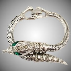 'Serpentine' Silver tone Snake bracelet Adolph Katz Coro Company 1948
