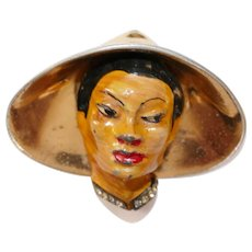 Chinese man with large Pagoda hat brooch designed by Adolph Katz - Coro Company 1942