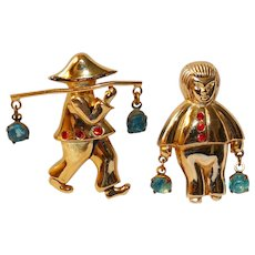 """Coro Pegasus """"Chinese couple Man & Woman Water Carriers"""" Brooches – Adolph Katz 1940s"""