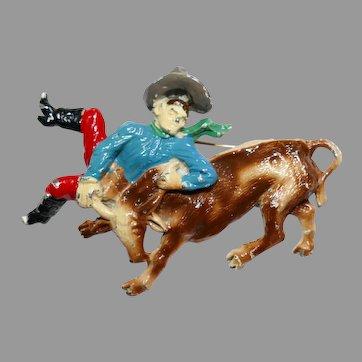 Rare prewar Rodeo Cowboy bulldogging Steer Wrestling brooch