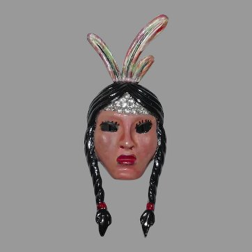 "Beautiful enameled ""Indian Princess"" dress clip designer Adolph Katz Coro Company 1942"