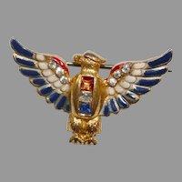 Enamel and rhinestone sterling patriotic Eagle brooch - Coro World War II 1940's