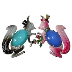 Mr. and Mrs. Squirrel jelly belly brooch set designer Gene Verrecchio Coro Company 1941