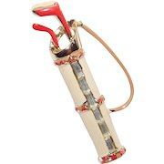 Vintage Ladies Golf Bag with Clubs Red Cream enameling with Baguettes Brooch Coro Company 1960's