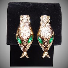 'Serpentine' Golden Snake Clip Style Earrings Set Adolph Katz Coro Company 1948