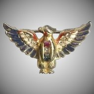 Enamel and rhinestone sterling patriotic Eagle brooch - Coro World War II 1940's