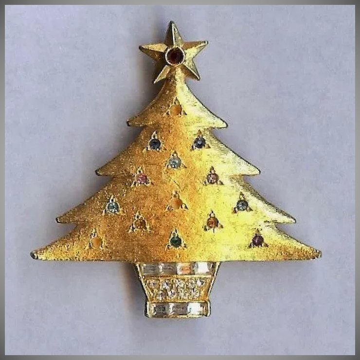 De Nicola Signed Jeweled Christmas Tree Pin Brooch Nice! : Gaspee ...