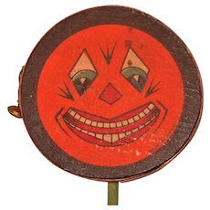 Jack O' Lantern Face Halloween Drum Shaker Noisemaker with bell – Germany 1920s