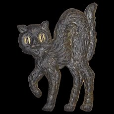 Small cardboard arched back Black Cat Halloween decoration German 1920s Left facing