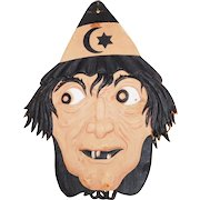 Scary Witch face Halloween decoration painted cardboard die cut German made 1920s