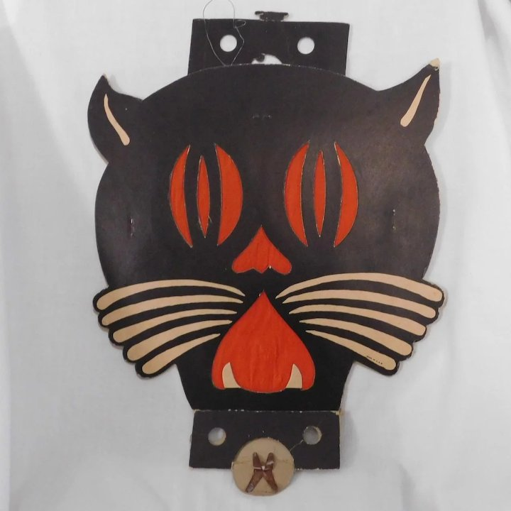 Large Art Deco cardboard cat face Tommy Whiskers Lantern Halloween decoration 1938 - 1941 Beistle Co