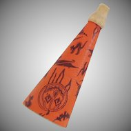 Halloween decoration – Cardboard Lithographed paper over cardboard wood tip horn Marks Brothers 1950s