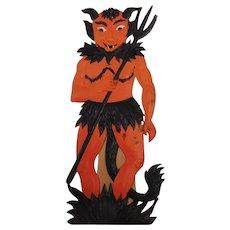 Large vintage German die cut embossed Halloween decoration – Devil with flames at bottom