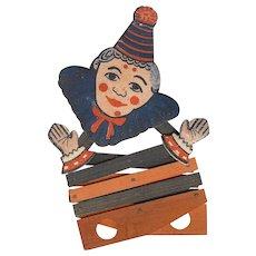 Vintage lithographed Jester wooden toy scissors Part Favor Halloween decoration Japan 1950's