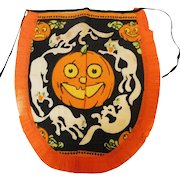 Crepe paper apron depicting a spooky Jack O Lantern with ghost Cats USA made Dennison Company 1922 – 1935