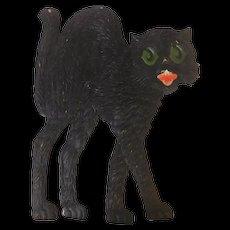 Large vintage German die cut embossed Halloween decoration Arched back cat