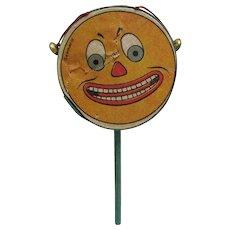 Jack O' Lantern Face Halloween Drum Shaker Noisemaker with bells – Germany 1920's