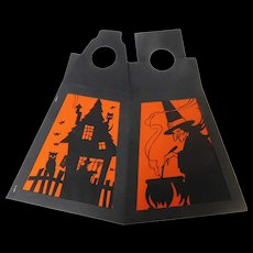 Four-sided Lantern/shade with alternating identical panel images of a Witches Haunted house Halloween decoration USA Gibson Art 1930's