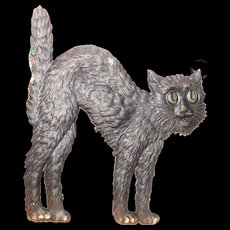 Medium size cardboard arched back faded black cat Halloween decoration 1920's German made