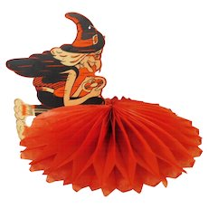 Scary Witch steering a flying saucer rocket spaceship cardboard & crepe paper Halloween decoration 1956 Beistle Co. USA