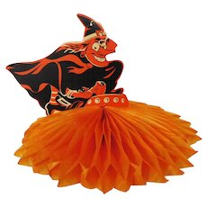 Scary Witch on a flying saucer spaceship cardboard & crepe paper Halloween decoration Beistle Company 1960's