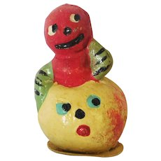 Vintage Halloween decoration/candy container Gourd boy on top of Yellow Melon Man Germany 1920's