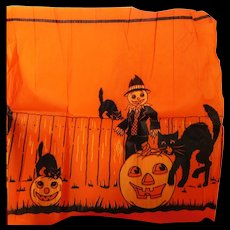 Vintage crepe paper banner Halloween decoration with Scarecrow Jack O Lantern & Cats 1920's - Red Tag Sale Item