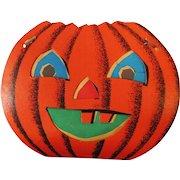 Large size Halloween decoration - Dual sided Jack O Lantern Pumpkin Face slot and tab lantern USA Dolly Toy Company 1950's
