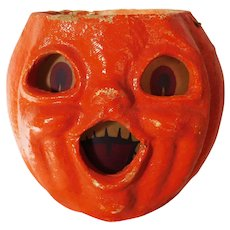 Halloween decoration pulp Paper Mache Smaller Choir Jack O Lantern Made in the USA 1940's - Red Tag Sale Item