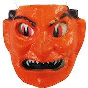 Halloween decoration pulp Paper Mache Devil Face Jack O Lantern F N Burt Company Made in the USA 1930's
