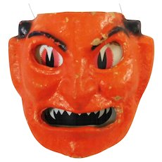 Halloween decoration pulp Paper Mache Devil Face Jack O Lantern F N Burt Company Made in the USA 1930's