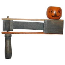 Antique Jack-O-Lantern Pumpkin Head wooden Clacker Halloween noisemaker Germany early 1900