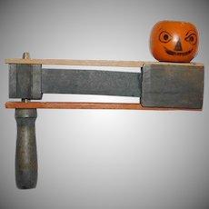 Antique Jack-O-Lantern Pumpkin Head wooden Clacker Halloween noisemaker Germany early 1900