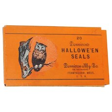 Boxed set of twenty Owl on Branch gummed seals Halloween decoration Dennison Company 1926 Rare hard to find