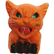 Halloween decoration pulp Paper Mache Cat on fence Jack O Lantern USA 1930's