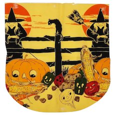 Halloween crepe paper Apron with Witches and Jack O Lanterns - Dennison Company USA 1920's