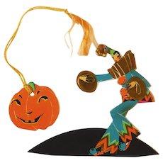 Elegant Lady Art Deco Harlequin Clown Place Card and Tally card set Halloween decoration Buzza Company 1920's Rare