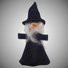 Vintage scary Felt Witch with white hair Halloween Decoration 1970's
